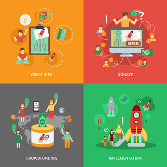 Crowdfunding design concept set with great idea donate implementation flat icons isolated vector illustration